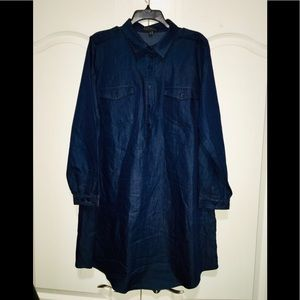 Eloquii Dark Denim Shirt Dress